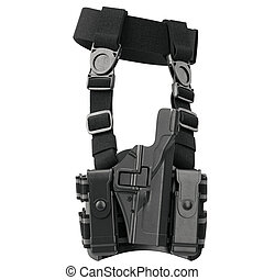 Holster ammunition security, side view - Holster on belt...