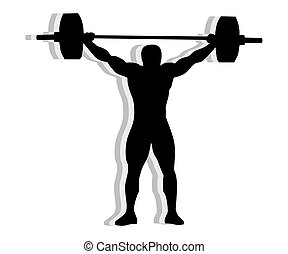 Silhouette weightlifting - Athlete silhouette weightlifting...