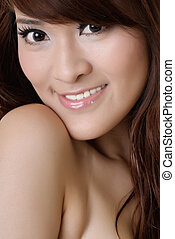 Closeup portrait of beauty of Asian with smiling expression