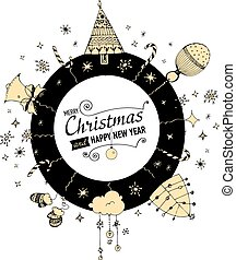 Christmas and New year Card with designed text.