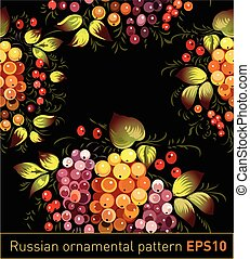 Floral textile pattern in Russian Zhostovo style