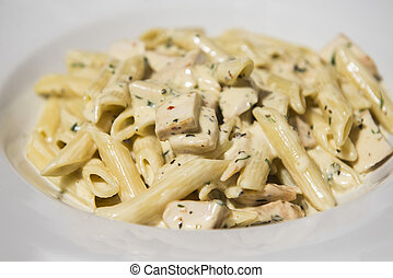 Penne with salmon creamy sauce - Traditional italian food -...