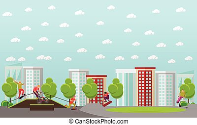 Vector illustration of people on bicycle, skateboard, rollers and scooter. Teenager makes tricks, stunts. Skate park banners.
