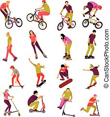 Vector set of people on bicycle, skateboard, rollers and scooter. Sport design icons. Teenager makes tricks, stunts.