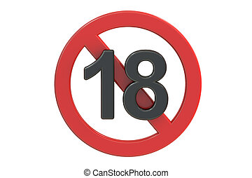 Adults only content sign. Age limit icon, 3D rendering