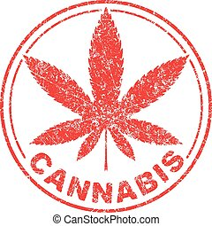 Cannabis or marijuana red leaf grunge design inscribed in a...