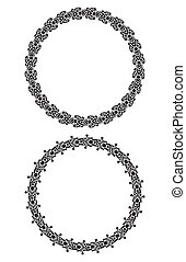 Pair of round vector black heavy thick frame for your design.