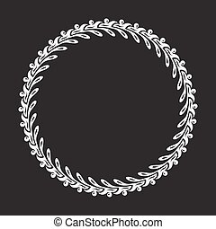 White decorative vector round frame on a black background