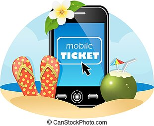 purchase airline tickets online - mobile phone, flip-flops...
