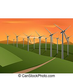 wind turbine - vector illustration of wind turbine on the...