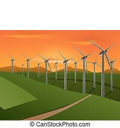 wind turbine - vector illustration of wind turbine on the...