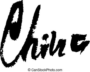 Drawings of word China - the word China over the color background ...