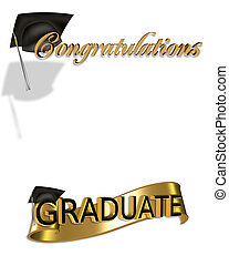 Graduation congratulations clip art - gold and black digital...