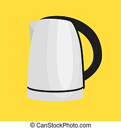 White tee kettle isolated, cooking equipment and kitchenware, cartoon kitchen utensil, domestic cooking tools