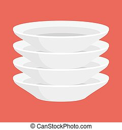 empty white ceramic plate in stack, isolated clean...