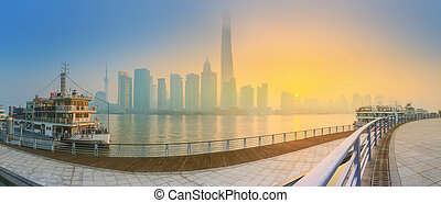 Beautiful night Shanghais cityscape with the city lights on...