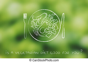 plate with vegetarian meal and healthy greens - plate with...
