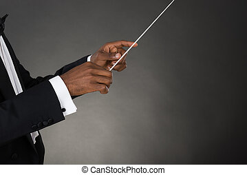 Music Conductor Hands Holding Baton - Close-up Of Music...