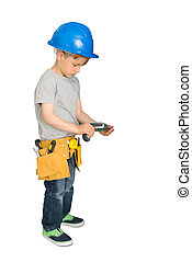 Cute Little Boy With Drilling Machine