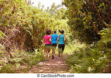 Three friends running away from camera - A male and his two...