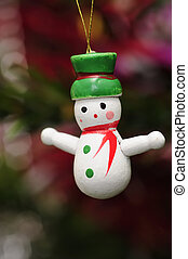 Snow man - A wooden snowman to decorate a christmas tree