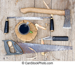Old carpenter tools - Od vintage hand tools on wooden...