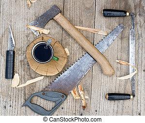 Od vintage hand tools on wooden background Carpenter...