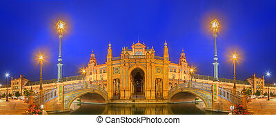 View of bridges and lights in Spain Square at evening,...