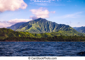 Beautiful landscape view of Na Pali coastline from the...