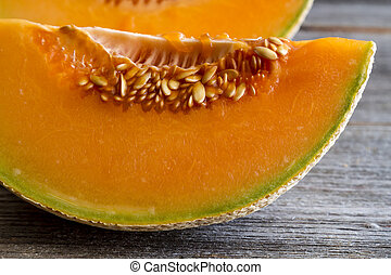 Fresh organic cantaloupe melon - Close up of two cantaloupe...