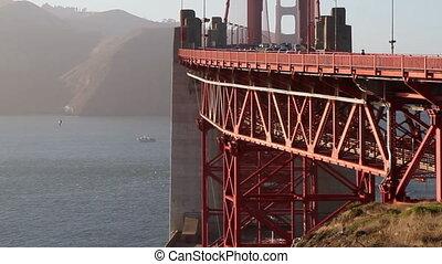 Golden Gate Bridge close up - Side shot of Golden Gate...