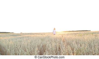Elegant Country Female Beauty Dress Walking Field