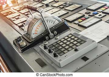 Control panel in warship with instruments equipment