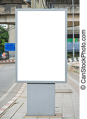 blank billboard on road with city view background.