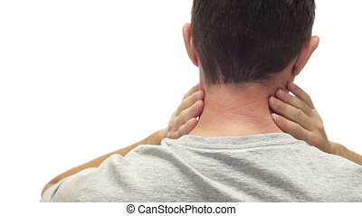 Male Neck Pain Isolated on White - Closeup of the back of a...