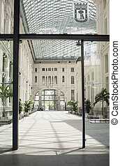 Palace of Communications indoors courtyard, Madrid, Spain -...