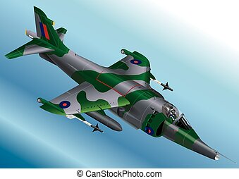 Royal Air Force Harrier Jet Fighter - Detailed Isometric...