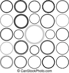 Set of Round Decorative Borders - Collection of Round...