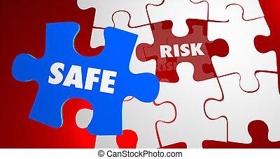 Risk Vs Safe Dangerous Security Puzzle Piece 3d Illustration