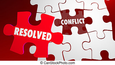 Conflict Resolved Fight Resolution Puzzle Piece 3d...