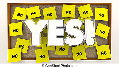 Yes Vs No Overcome Objections Sticky Notes 3d Illustration