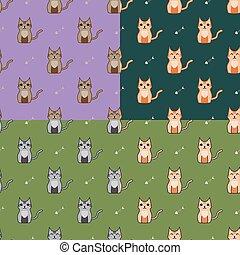 Cute cartoon cats set