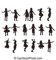 silhouette of cute girl jump with white background, great...