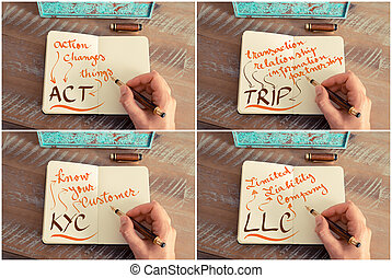 Photo collage of business acronyms written on notebook -...