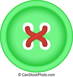 Sewing button in green design with sewing thread on white...