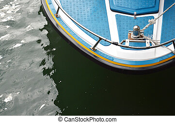 speedboat at anchor with top view