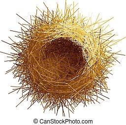 Vector empty birds nest. Top view