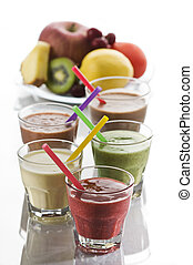 Smoothies - Fresh mixed fruit smoothies close up shoot