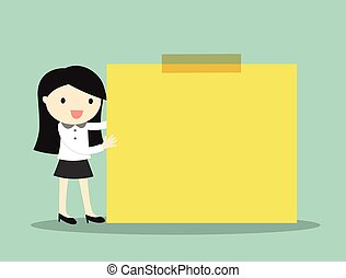 Business woman holding yellow note