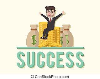 Success team spirit business man